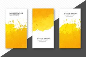 Abstract colorful watercolor banner set background