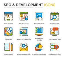 Simple Set SEO und Development Line Icons für Website und Mobile Apps