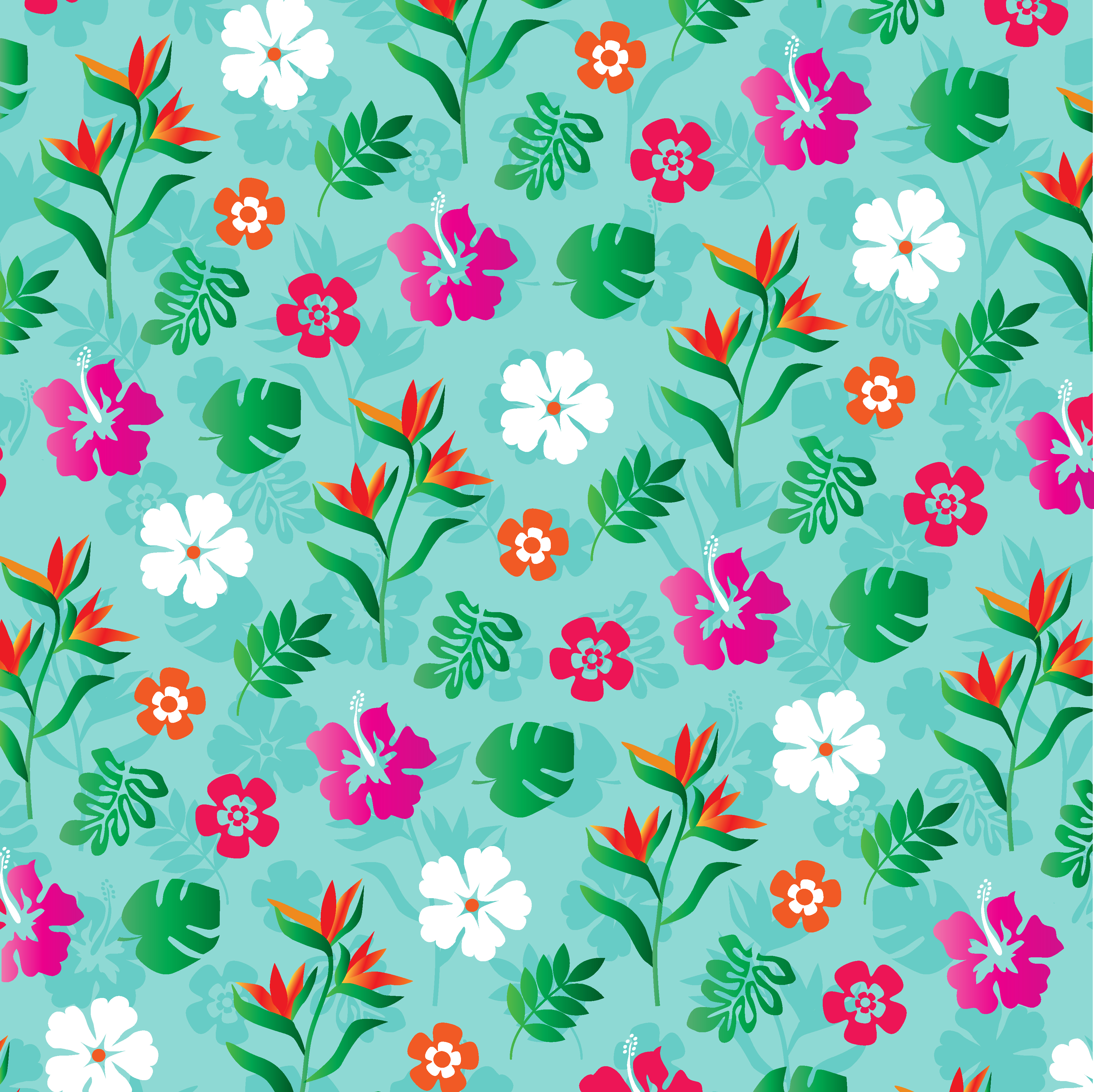 Tropical Flowers Background Pattern Download Free Vectors