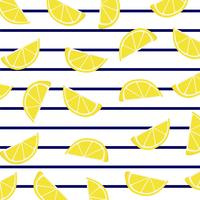 Lemon slices on marine stripes.