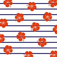 Red hibiscus on marine stripes.