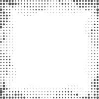 Black and white gradient frame background with halftone dots.