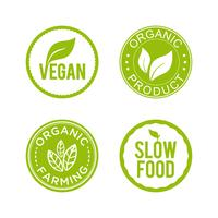 Healthy food icon set. Vegan, organic product, organic farming and slow food icons.
