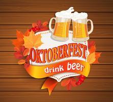 Octoberfest vintage frame with beer.