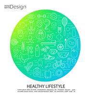 Símbolos do conceito de estilo de vida saudável.