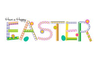 Happy Easter patterned type on white	 vector