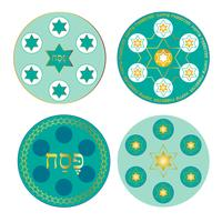 blue Passover seder plates