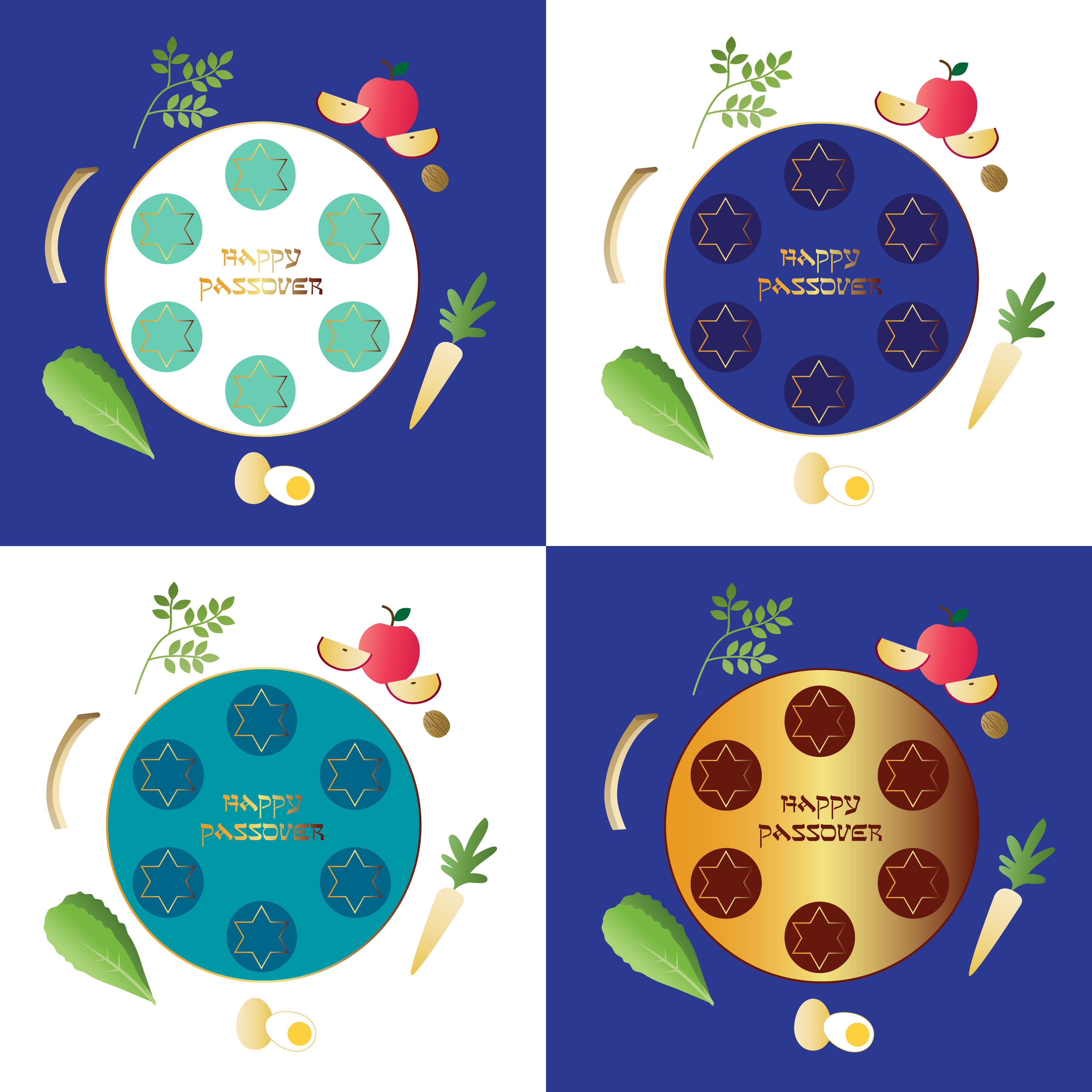 Passover seder plates with food - Download Free Vectors, Clipart ...