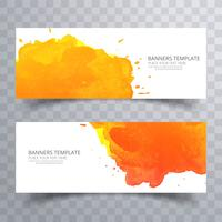 Elegant colorful watercolor banner set