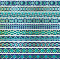 blue gold Moroccan border patterns