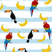 Toucans and parrots with bananas on stripes seamless pattern background