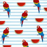 Wattermelon and parrots with stripes seamless pattern background