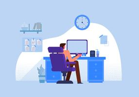 Office Worker Staff Working On Desk Vector Flat Illustration