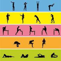 Stretching Exercise Icon Set per allungare braccia, gambe, schiena e collo.
