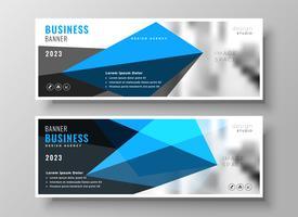 design de banner de apresentação de negócios geométricos azul moderno