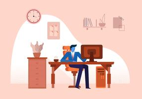 Office Worker Staff Working On Dekstop Vector Flat Illustration