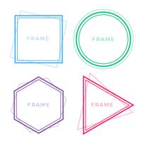 set of geometric line frames in different colors