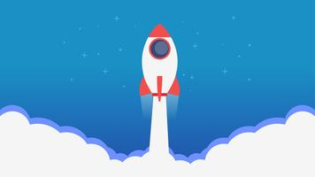 Site Page. A rocket flying out of the clouds.Learn more banner. Vector flat illustration