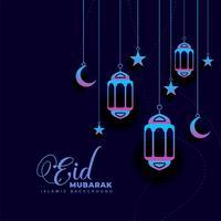 elegante escuro eid mubarak festival saudação design