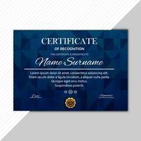 Erstklassiges Schablonen-Polygondesign des abstrakten Zertifikats