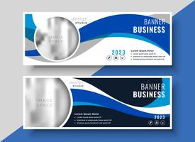 abstract blue wavy business banner design