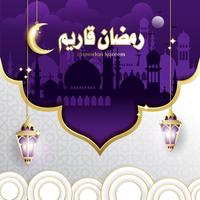 Elegant Design of Ramadan Kareem with Hanging Fanoos Lantern & Mosque Background