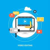 Video editing, video production, montage flat vector illustration design