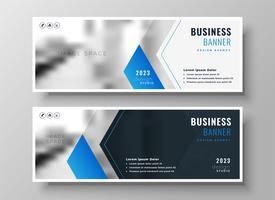 Plantilla de diseño de banner de negocios moderno azul elegante