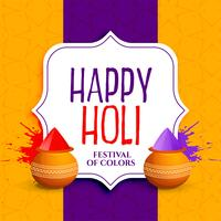 happy holi greeting design with colors splatter