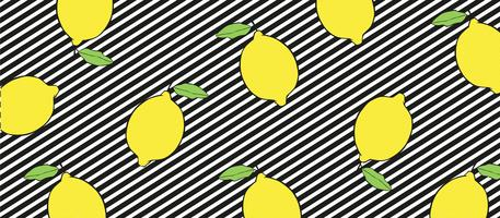 Lemons on black and white lines background.