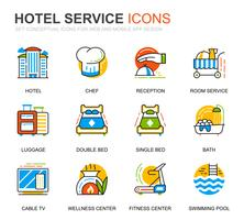 Simple Set Hotel Services Lijnpictogrammen voor website en mobiele apps