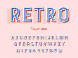 Alfabeto retro en línea 3D vector