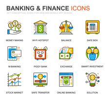 Simple Set Banking et Finance Line Icons pour site Web et applications mobiles