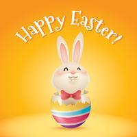 coniglio dentro un uovo di Pasqua incrinato