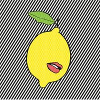Pop lemon with lips and lines background