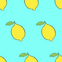 Colorful seambless pattern lemons on blue background.