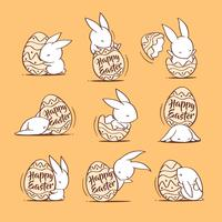 Easter bunnies and egg vector