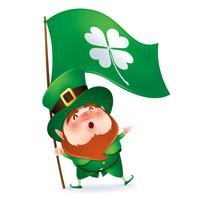 cartoon character of leprechaun in green cylinder hat