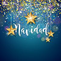 Christmas Illustration with Feliz Navidad Typography