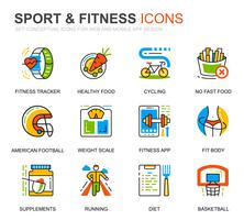 Simple Set Sport- en fitnesslijnpictogrammen voor website en mobiele apps