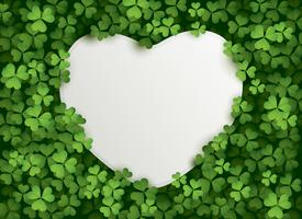 Clover leaf background with heart card