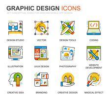 Einfaches Set Web- und Grafikdesignsymbole für Websites und mobile Apps