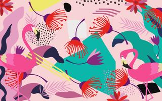 Feuilles de jungle tropicale et fleurs fond affiche avec les flamants roses. Impression d'art coloré de feuilles, fleurs, plantes et branches exotiques. Motif botanique, papier peint, conception illustration tissu vecteur