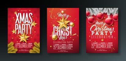 Merry Christmas Party Flyer Illustrations