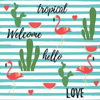 Tropical background with flamingos, watermelon, cactus and tropical jungle leaves