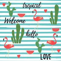 Fondo tropical con flamencos, sandía, cactus y hojas de selva tropical.