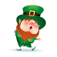 leprechaun di cartone animato in cappello verde
