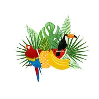 Tropical background with toucan, parrot and fruits