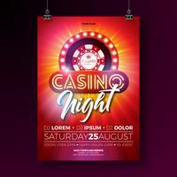 Illustration de flyer de nuit de casino