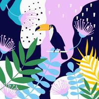 Tropical jungle leaves and flowers poster background with toucan